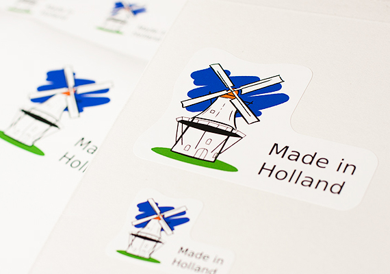 Vormgeving stickers 'Made in Holland', voor internationaal gebruik.
